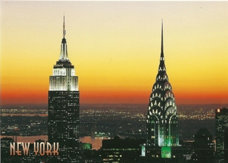 31x Postcard Empire State and Chrysler Buildings New York (Sligh