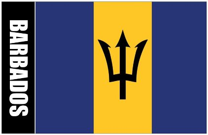 Oversize Postcard Of Barbados Flag with Coat Of Arms on Back ( S