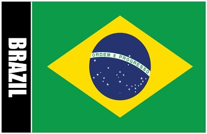 Oversize Postcard Of Brazil Flag with Coat Of Arms on Back ( Som